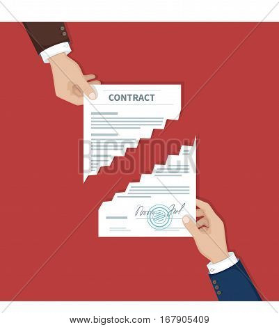Contract termination concept. Two businessman hands tearing document apart. The end of agreement. Vector illustration in flat design for business concept. Top view