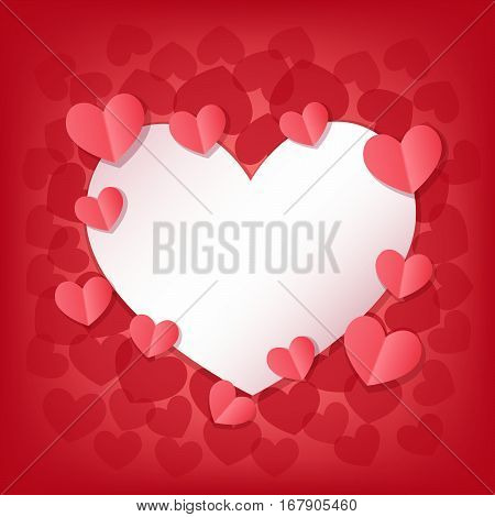 Happy Valentine's Day greeting card with white and pink hearts. Space for lettering in the middle. Romantic Gift background. Vector Illustration.