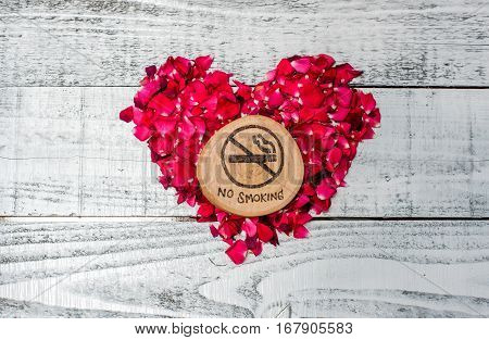 World No Tobacco Day No Smoking, sign with heart