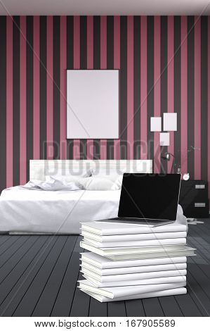 3D Rendering : illustration of close up of laptops in modern interior bedroom. close-up. Mock up. light from outside. frame mock up. pink and black bed room. white furniture. white book stacked