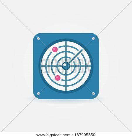 Flat radar icon - vector blue radar screen concept symbol or design element