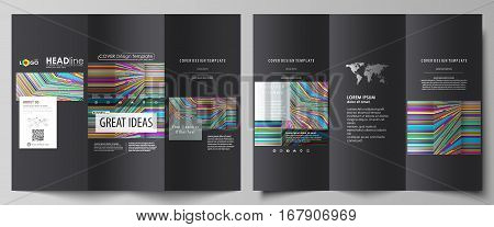 Tri-fold brochure business templates on both sides. Easy editable abstract vector layout in flat design. Bright color lines, colorful style with geometric shapes forming beautiful minimalist background.