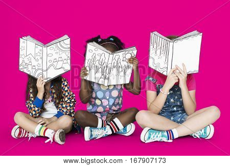 Little Children Reading Story Books