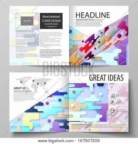 Business templates for square design bi fold brochure, magazine, flyer, booklet or annual report. Leaflet cover, abstract flat layout, easy editable vector. Bright color lines and dots, colorful minimalist backdrop with geometric shapes forming beautiful
