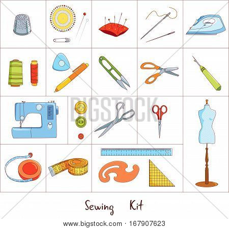 Sewing and tailoring tools kit, sewing machine and pincushion, fabric scissors, needles and thimble isolated on white background, vector