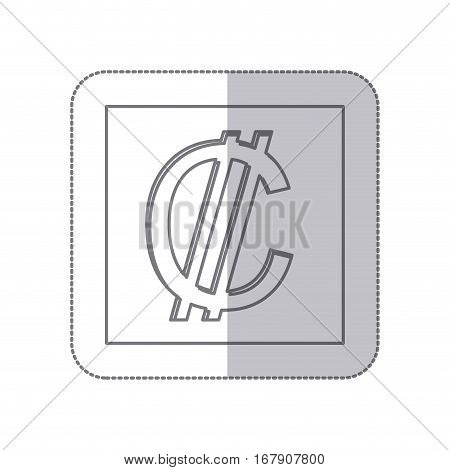 middle shadow monochrome square with currency symbol of colon costa rica vector illustration