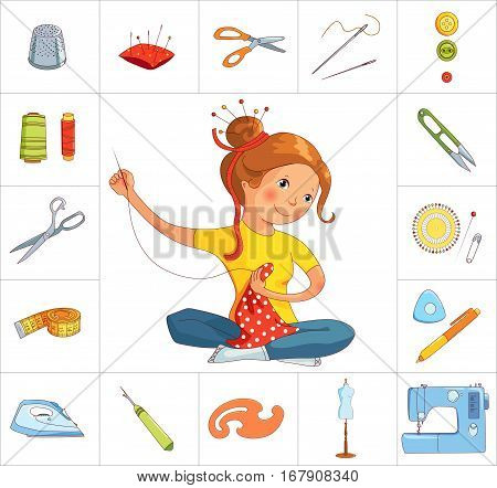 Seamstress girl and sewing or tailoring tools kit, sewing machine, fabric shears, needles and pin cushion isolated on white background, cartoon and flat vector icons
