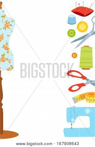 Sewing and tailoring flat vector background or border, Hand sewn concept, Place for your text
