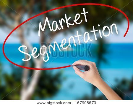 Woman Hand Writing Market Segmentation With Black Marker On Visual Screen.