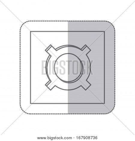 middle shadow monochrome square with currency symbol of common use vector illustration