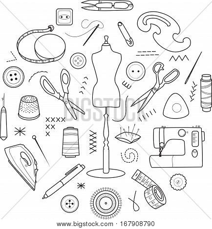 Sewing and tailoring tools, Sewing mannequin, machine, measuring and cutting supplies, Black outline vector round concept
