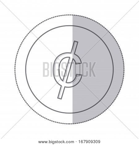 middle shadow monochrome circle with currency symbol of cent vector illustration