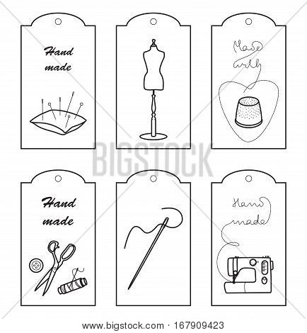 Set of lables for hand sewn clothes or sewing craft, Made with love, han sewn tags, Line vector