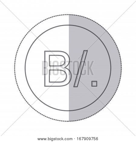 middle shadow monochrome circle with currency symbol of balboa panama vector illustration