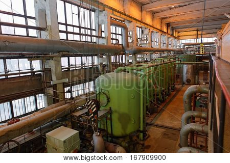 ST. PETERSBURG, RUSSIA - DECEMBER 16, 2016: Heating equipment in the boiler plant Parnas. It is the largest heat energy source in Northern Europe