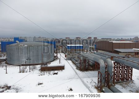 ST. PETERSBURG, RUSSIA - DECEMBER 16, 2016: Heat pipelines outgoing from the boiler plant Parnas. It is the largest heat energy source in Northern Europe