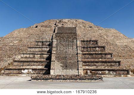 Mexico Teotihuacan Aztec ruins near Mexico city. The picture presents Piramide de la Luna (Temple fo the Moon)