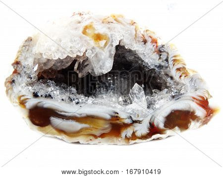 agate with chalcedony geological crystal quartz isolated