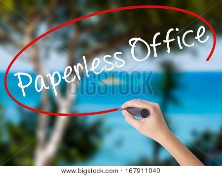 Woman Hand Writing Paperless Office  With Black Marker On Visual Screen