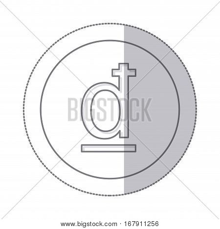 middle shadow monochrome circle with currency symbol of dong vietnam vector illustration
