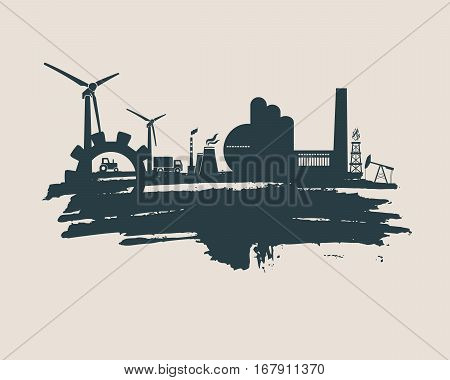 Energy and Power icons set and grunge brush stroke. Energy generation and heavy industry relative image. Agriculture and transportation. Vector illustration