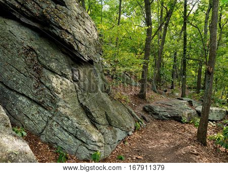 Appalachian Trail Edges along Rock Formation in rocky Pennsylvania