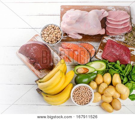 Natural Products Rich In Vitamin B6. Healthy Eating  Concept.