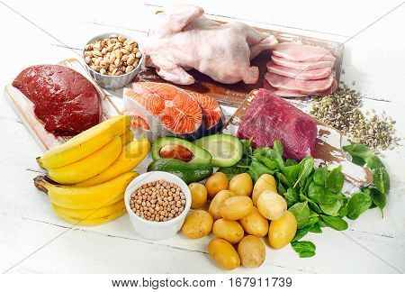 Natural Products Rich In Vitamin B6. Healthy Food Concept.