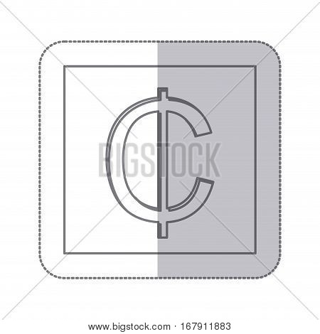 middle shadow monochrome square with currency symbol of cent vector illustration