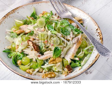 Fresh Salad With Chicken, Apples, Celery, Grapes.