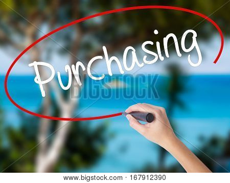 Woman Hand Writing Purchasing With Black Marker On Visual Screen.