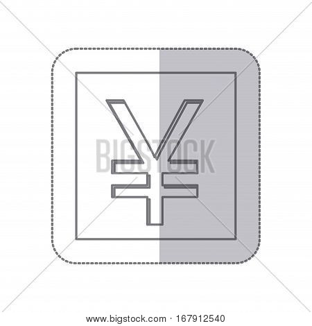 middle shadow monochrome square with currency symbol of china vector illustration