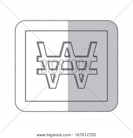 middle shadow monochrome square with currency symbol of south korea vector illustration