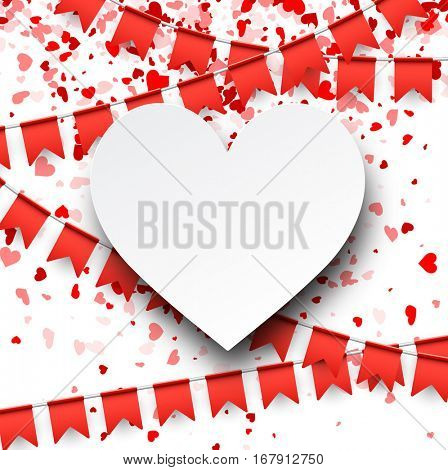 Love valentine's background with red flags and hearts. Vector illustration.