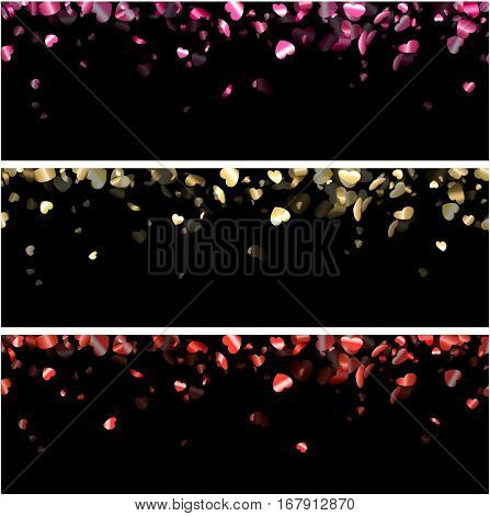 Love valentine's black banners with glossy hearts. Vector illustration.