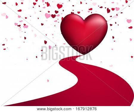 White love valentine's background with pink hearts. Vector illustration.