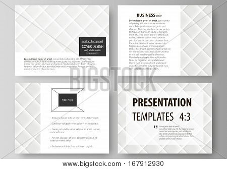 Set of business templates for presentation slides. Easy editable abstract vector layouts in flat design. Shiny fabric, rippled texture, white color silk, colorful vintage style background
