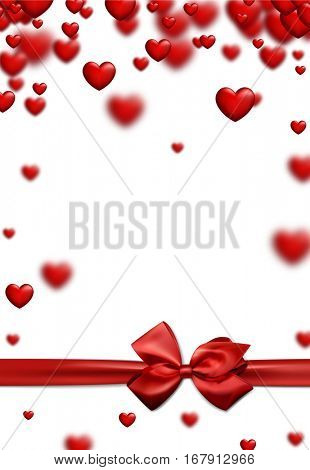 Valentine's white love background with red hearts and bow. Vector illustration.