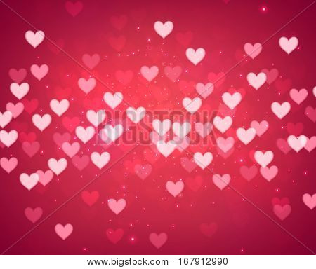 Valentine's pink love background with hearts pattern. Vector paper illustration.