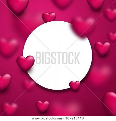 Valentine's pink round love background with 3d hearts. Vector illustration.