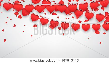 Love valentine's background with garland of red hearts. Vector illustration.