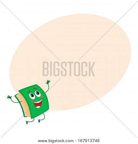 Funny book character jumping happily, celebrating success, cartoon vector on background with place for text. Green book jumping happily with hands up and wide smile, school, education concept