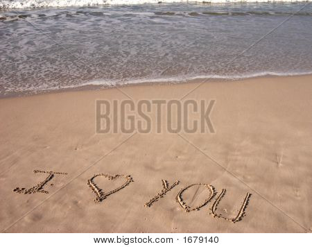 I Love You Written On Sandy Beach