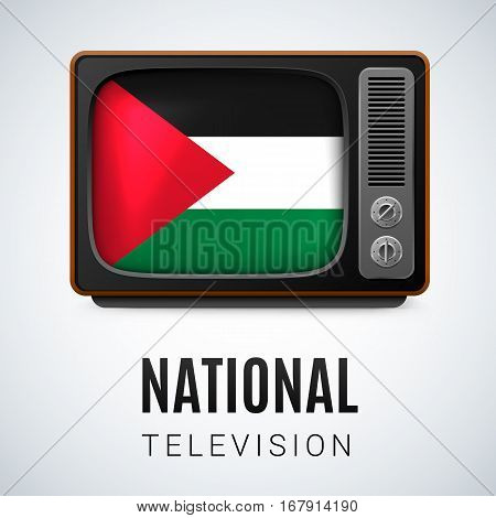 Vintage TV and Flag of Palestine as Symbol National Television. Button with Palestinian flag