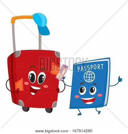 Red suitcase and passport characters, travelling, vacation concept, cartoon vector illustration isolated on white background. Suitcase and passport characters, mascots, holiday, vacation symbol