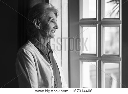Senior Woman Thoughtful Alone Lifestyle