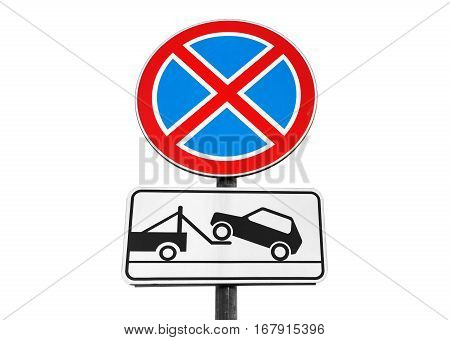 Standing Prohibited, Tow Truck, Isolated