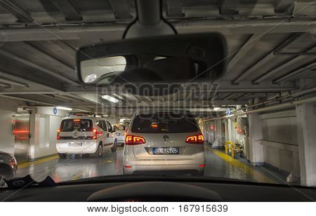 Golfo Aranci Italy - September 23 2016: Cars disembarking from ferry