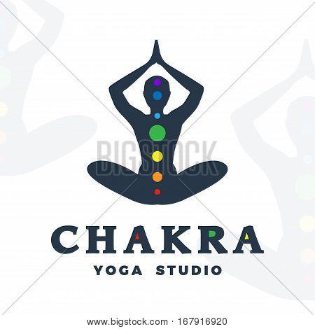 Yoga studio logo template. Chakra company logotype. Meditation pose silhouette design. Vector man label. Creative wellness illustration