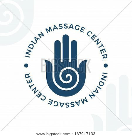 Yoga, meditation vector logo illustration. Decorative hamsa hand vector element. Indian, Hindu design. Spirituality spiral insignia. poster